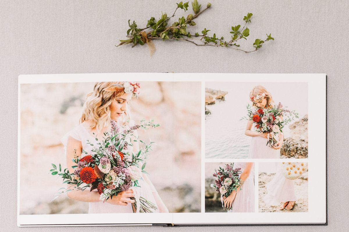 Fotos von Braut auf Mallorca in modernem Hochzeitsalbum