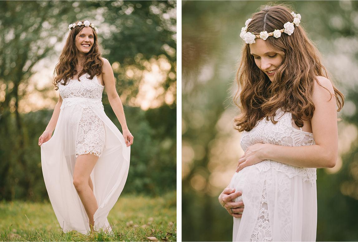Mallorca Schwangerschaftsfotos - werdende Mutter beim Schwangerschaftsshooting in der Natur