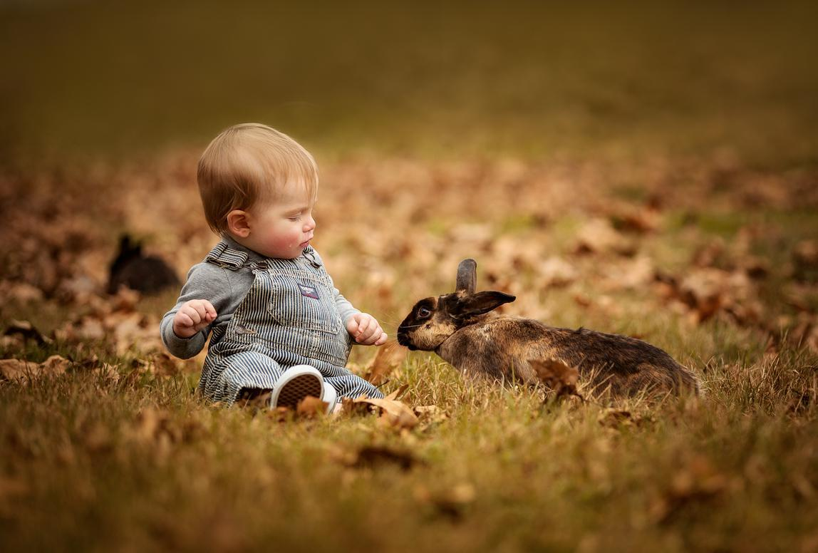 Fotograf Cala Ratjada: Baby mit Hase auf wiese
