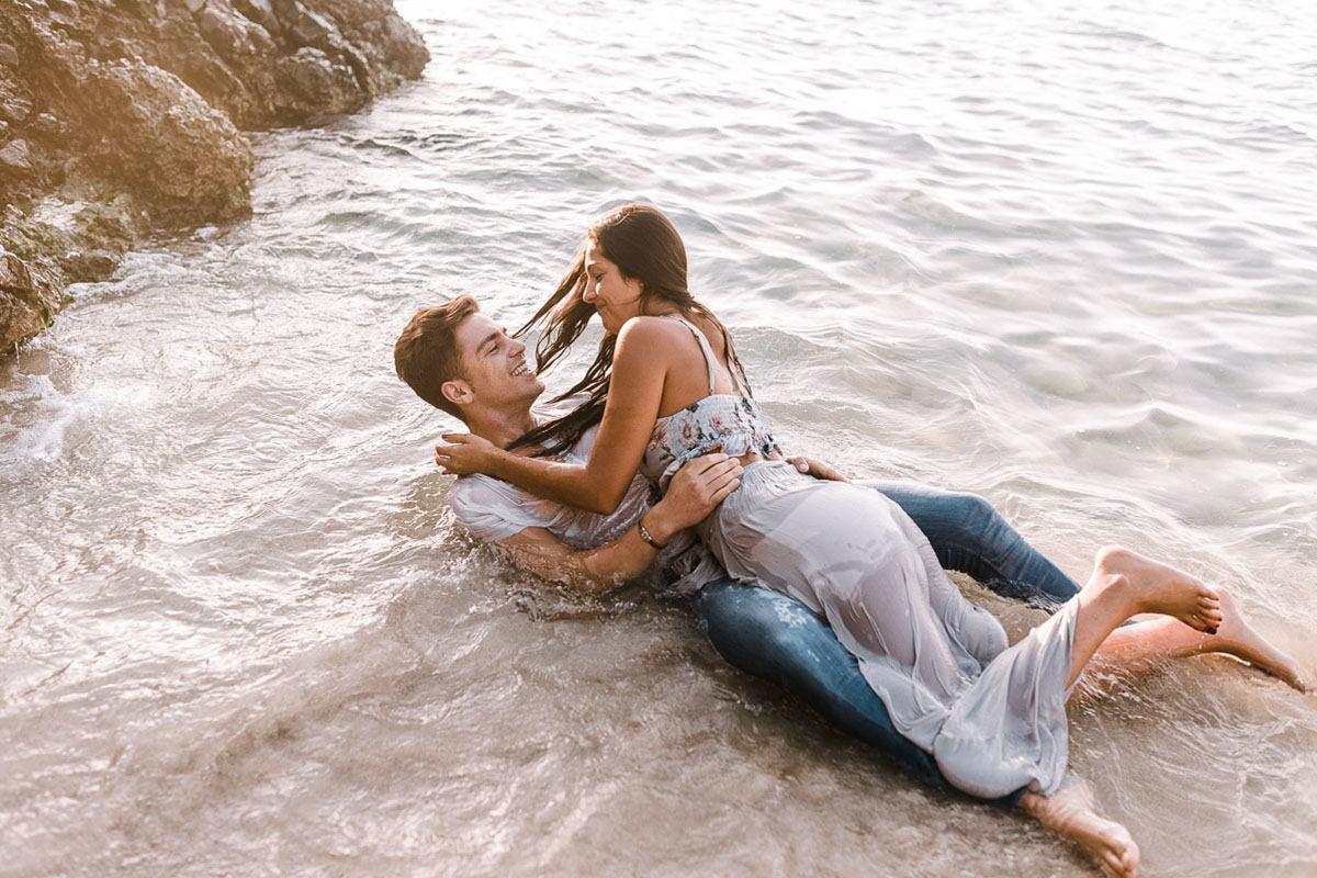 Engagement Photographer Mallorca - Romany Flower - Mallorca Beach, couple hugging