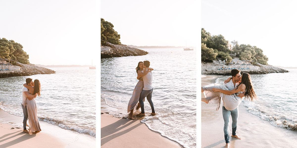 Engagement Photographer in Mallorca - Romany Flower - Couple having fun by the beach