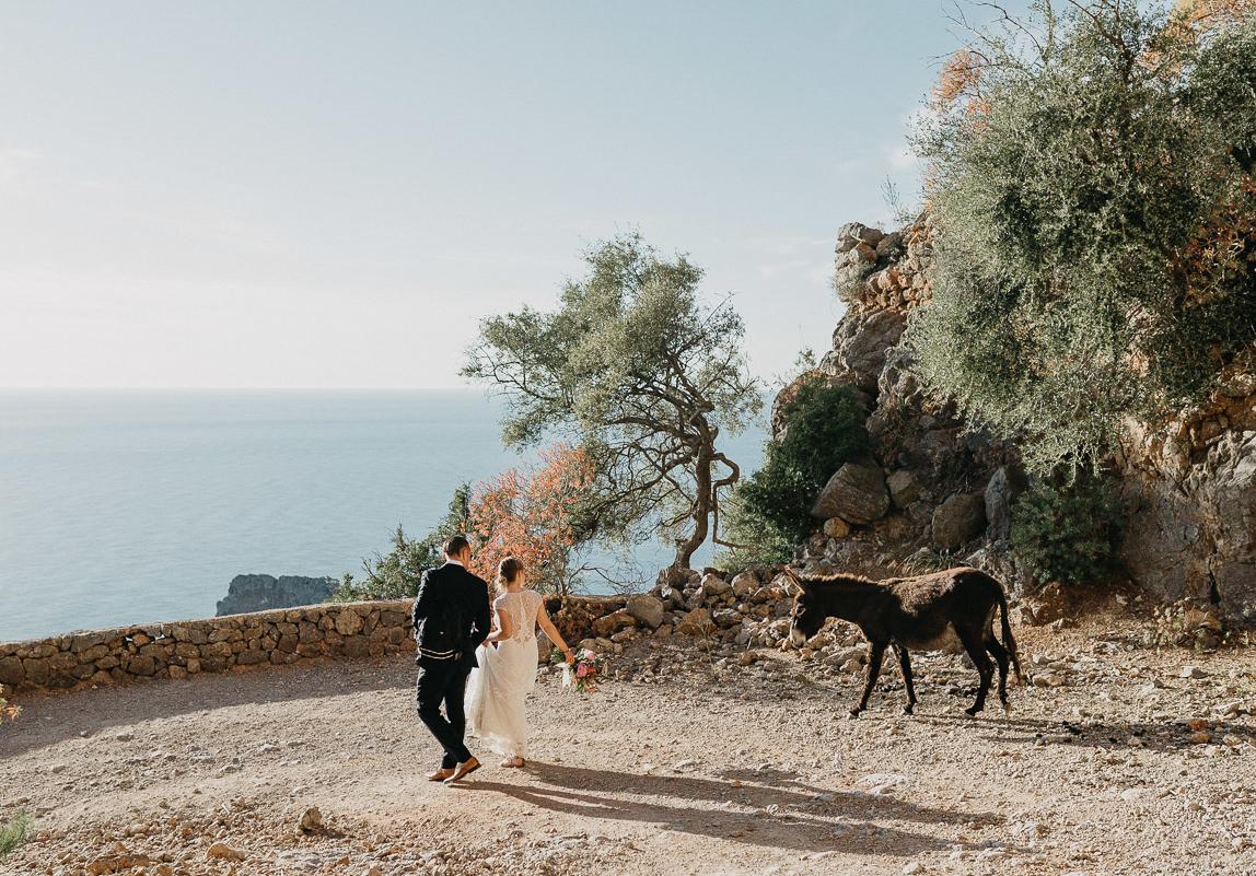 Mallorca Hochzeitsfotografie: Braut und Bräutigam bei Abenteuerhochzeit. Ein Esel folg ihnen auf der Wanderung